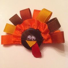 Thanksgiving Fall Just a Turkey with a Ruffle hairbow clippie-BOWZETC.Etsy.com