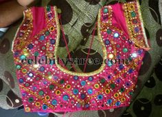 Top Beautiful Mirror work Blouse Designs Latest designs :- Mirror work blouse designs have become fashion now. When a mirror work blouse is combined with a plain saree it will give stunning a… Pattu Saree Blouse Designs, Fancy Blouse Designs, Bridal Blouse Designs, Mirror Work Saree Blouse, Mirror Work Blouse Design, Maggam Work Designs, Stylish Blouse Design, Pink Mirror, Blouses