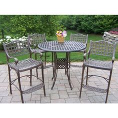 Oakland Living Elite Cast Aluminum Bar Height Patio Dining Set Size - 4 Person by Oakland Living. $2500.00. High round metal table with decorative woven top. Antique bronze finish won't fade, chip, or crack. Hardened powder coat finish. Durable rust-free cast aluminum construction. 4 high arm chairs with contoured seats and footrests. Elevate your outdoor dining with the Oakland Living Elite Cast Aluminum Bar Height Patio Dining Set. A compact bar-height design provides e...