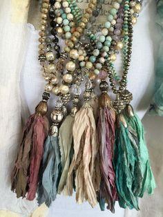 Boho Jewelry umla: (via Shabby BoHo glam hand knotted czech crystal sari silk tassel bohemian unique necklace by MarleeLovesRoxy Ribbon Jewelry, Tassel Jewelry, Textile Jewelry, Fabric Jewelry, Boho Necklace, Bohemian Jewelry, Jewelry Crafts, Beaded Jewelry, Handmade Jewelry