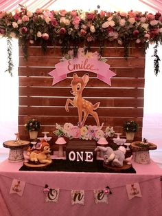 Bambi decor and candy table for Sale in Los Angeles CA - OfferUp 1st Birthday Girl Decorations, 1st Birthday Party For Girls, 1st Birthday Themes, Girl Baby Shower Decorations, Girl First Birthday, Baby Birthday, Candy Table Decorations, Birthday Ideas, Bambi