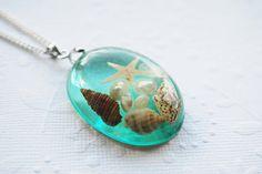 The Mermaid's Necklace 02 Oval Nautical Jewelry Resin Starfish Tiny Seashells Aqua Specimen Necklace Fairy Tale Fantasy Unique Handmade Resin Jewelry, Jewelry Art, Resin Pendant, Pendant Necklace, Fairy Tale Crafts, Fairytale Fantasies, Mermaid Necklace, Nautical Jewelry, Resin Crafts