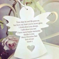 A pretty handmade hanging wooden Angel engraved with a beautiful quote and hung with ribbon The angel can be personalised with your loved ones name