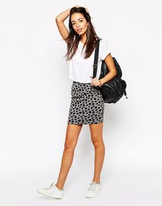 Vila+Textured+Pencil+Skirt