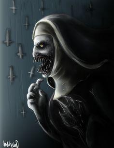 "Horror Movie Art : The Conjuring ""Valak"" by @ deviantart Scary Movies, Horror Movies, Scary Paintings, Epic Film, Satanic Art, Horror Pictures, Demon Art, Maquillage Halloween, Creepy Art"