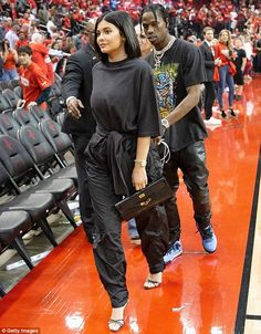 Coupled up: The couple (above at a Houston Rockets game on April 18) have been dating since last Summer and in February they welcomed baby Stormi