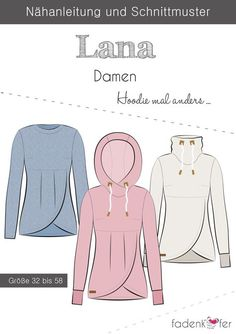 Papierschnittmuster Lana Adult Fadenkäfer, The post Papierschnittmuster Lana Adult Fadenkäfer, appeared first on Pinova - Paper Crafts Crochet Pullover Pattern, Hoodie Pattern, Top Pattern, Wrap Sweater, Sweater Shirt, Sewing Clothes, Diy Clothes, Baby Knitting Patterns, Sewing Patterns