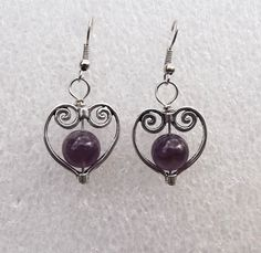 Amethyst earrings  Februarybirthstone by Mammybluebeads on Etsy