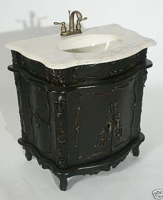 FRENCH CHATEAU ANTIQUE BLACK FURNITURE GREY MARBLE TOP SINK VANITY UNIT | eBay