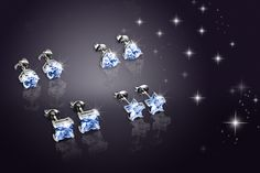 4 Pairs of Crystal Earrings Made with Swarovski Elements - 3 Colours!