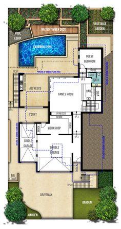 Two Storey House Plans - The Hampton Lower Ground Floor