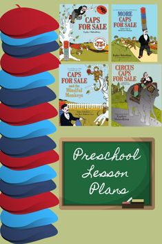 Nine different lesson plans for preschoolers on the four CAPS FOR SALE books! Preschool Lesson Plans, Preschool Curriculum, Homeschool, Five In A Row, Book Stuff, Pre School, Story Time, Speech Therapy, Childrens Books