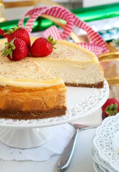 Gluten-Free Eggnog Cheesecake Recipe | Simply Gluten Free Eggnog Cheesecake, Gluten Free Cheesecake, Cheesecake Cookies, Gluten Free Desserts, Cheesecake Recipes, Gluten Free Recipes, My Recipes, Dessert Recipes, Chewy Gingerbread Cookies