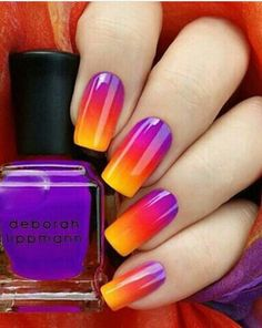 Fingernails with neon purple pink & yellow