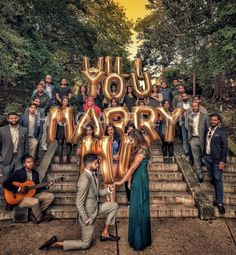 """Proposing with """"Will you marry me"""" gold foil giant alphabet balloons // Proposal ideas and inspiration (photo by Huqa Films)"""