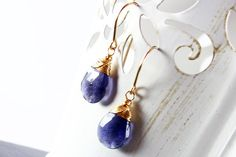 Iolite Earrings Goldfilled wire wrapped earrings by AliraTreasures