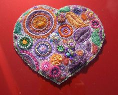 I ❤ beadwork . . . Beaded Heart ~By Diane Redmer Moore, Enchy Latta