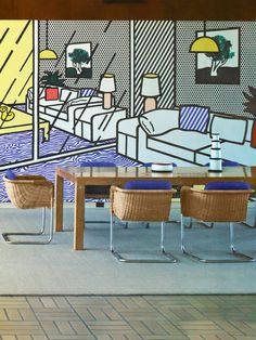 Lichtenstein Interior: Case da Abitare. I had the pleasure to meet Roy Liechtenstein once when I was 15, made a huge impression on me.