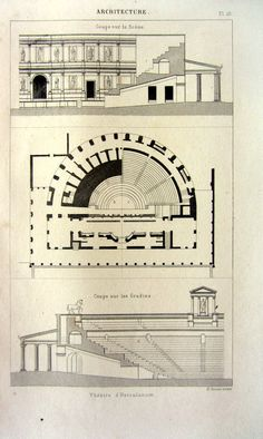 Antique architecture print 1852 Herculaneum by LyraNebulaPrints
