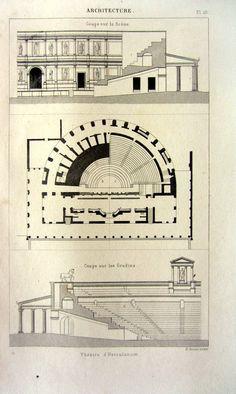 Antique architecture print 1852 Herculaneum by LyraNebulaPrints