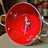Red Colander Clock, Repurposed Vintage Style Porcelain Enamel Kitchenware - Mothers Day Special