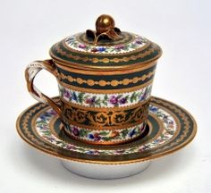 Chocolate cup, saucer and cover, Sevres,1781. The Bowes Museum