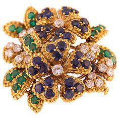 1960s Mauboussin Emerald Sapphire Diamond Gold Brooch