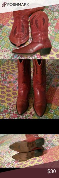 Wild Pair Ladies Cowboy Boots sz 8 A re-posh, because I bought another pair and don't wear these.  Lovely worn boots, still have alot of life in them.  Spots in last pic, but not too noticeable when wearing. Can fit 7 1/2 with insoles.  That's what I did Wild PAIR Shoes