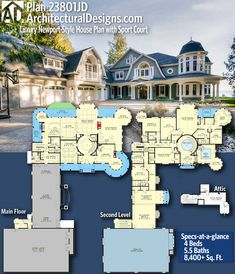 Architectural Designs Home Plan gives you 4 bedrooms 5 5 baths and 8 400 sq ft Ready when you are Where do YOU want to build Dream House Plans, House Floor Plans, My Dream Home, Dream Houses, 6 Bedroom House Plans, Large House Plans, Luxury House Plans, Newport, The Plan