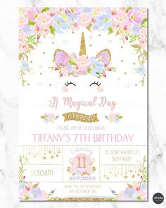 8 Unicorn Invitation Invite Girl 1st First Birthday Party Rainbow Floral Any Age