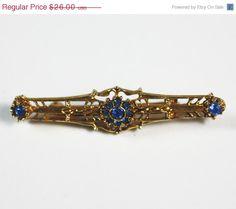 72 Hour Sale Victorian Revival Bar Pin Blue by PastSplendors, $22.10