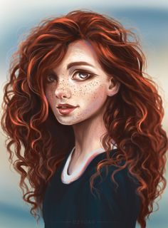 Merida from Brave Unknown artist Disney Fan Art, Punk Disney, Disney Drawings, Cute Drawings, Drawing Disney, Girls With Red Hair, Disney Kunst, Digital Art Girl, Disney And Dreamworks