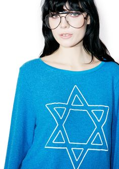 Wildfox Couture David's Back Baggy Beach Jumper ...don't miss out, he's only here for 8 cuh-razy nights! This ultra cozy sweater features a plush blue construction, relaxed fit, banded trim, and big star of David graphics across the chest.