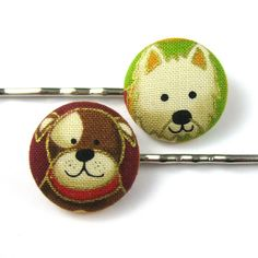 Dog Bobby Pins - Puppy Fabric Covered Button Bobby Pins - Girls Hair Accessories - Dog Accessories