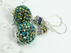 Sparkle Disco Ball Beads and Crystals Earrings Glam Bling, $22