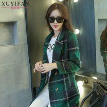 Áo khoác dạ nữ dài tay, thiết kế kẻ caro cổ điển, thời trang mùa đông