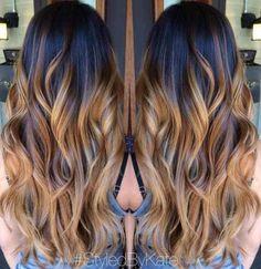 black to caramel ombre long hair