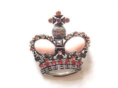 Find More Brooches Information about 12pcs/Antique Inspired Silver Tone Rose Pink Royal Crown Crystal Rhinestone Pin Brooch,High Quality rhinestone brooch,China brooches and pins vintage Suppliers, Cheap brooch clasps from Skymove Store on Aliexpress.com