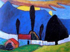 Paisagem com muro branco (Gabriele Münter, 1909). Óleo sobre cartolina, 50 x 65 cm.