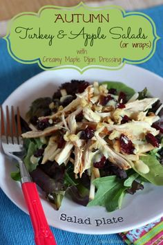 Autumn Turkey & Apple Salads or Wraps with Creamy Greek Yogurt Maple Dijon Dressing | cupcakesandkalechips.com | #salad #glutenfree #apples