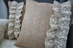 Burlap and Cotton Lace Pillows