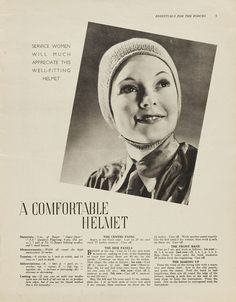 A Comfortable Helmet  Service women will much appreciate this well-fitting helmet  1940s Patterns to Knit | V