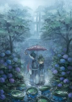 Finding joy in a rainy day/雨の日のハスボー by Ezro/エズロ from 48 Hours a day on Tumblr