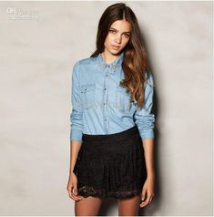 Camisa Jeans com Spikes Denim Top, Denim Blouse, Denim Shirt, Blue Denim, Cute Blouses, Blouses For Women, Girly Outfits, Fashion Outfits, Fashion Styles