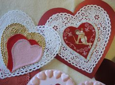 Set of 13 Vintage Red Hearts for Valentine's Day by CandyTheArtist, $24.00