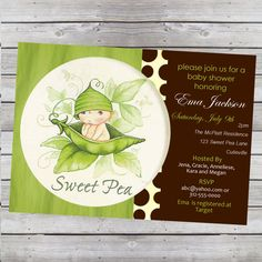 Sweet Pea Baby Shower Invitation Boy or Girl Digital File. $14.99, via Etsy.