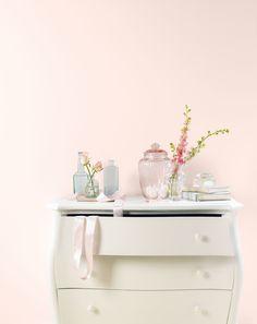 Bedroom wall painted with Crown matt emulsion Creme de la Rose. Nursery Room, Bedroom Wall, Girls Bedroom, Bedroom Decor, Bed Room, Nursery Ideas, Bedroom Ideas, Blush Bedroom, Rustic Shabby Chic