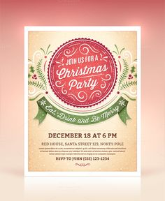 Christmas Party Invitation by Swedish Points on @creativemarket