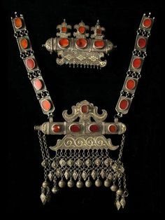 """Breast decoration"" from the unofficial website of the Museum of Applied Arts in Tashkent, Uzbekistan. Re-posted from Truus and Joost Daalder's FB page ""Ethnic Jewellery and Adornment""."