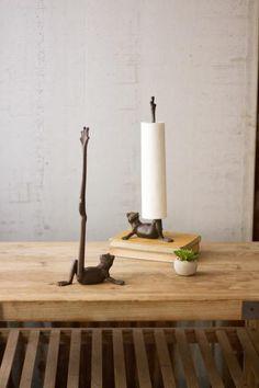 Kalalou Cast Iron Frog Paper Towel Holder-Set of 2 Paper Towel Holder Kitchen, Towel Holders, Cast Iron, It Cast, Toilet Roll Holder, Textiles, Decoration, Ceramic Art, Pottery